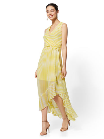 Stripe Wrap Maxi Dress in June Day Yellow