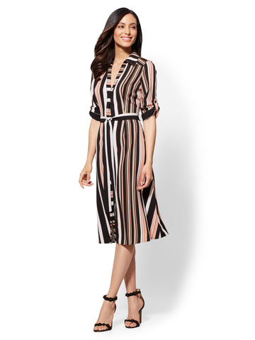 Black Stripe Midi Shirt Dress in Black