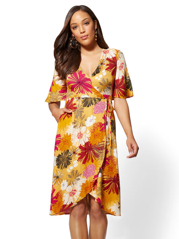 Yellow Floral Fit and Flare Wrap Dress in Sunflower Garden