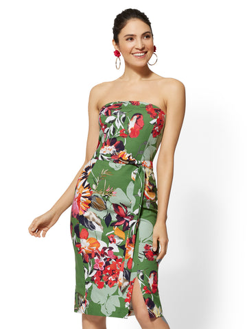 Green Floral Strapless Sheath Dress in Paradise Green