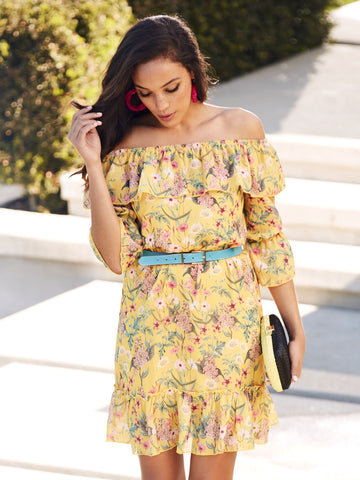 Floral Off-The-Shoulder Shift Dress - Sweet Pea in Yellow