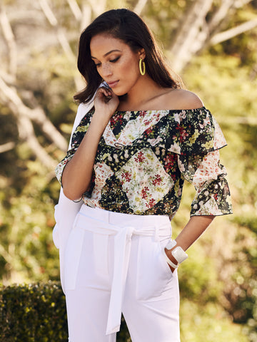 5a613bb494a New York & Company Floral Off-The-Shoulder Blouse - Sweet Pea in Black