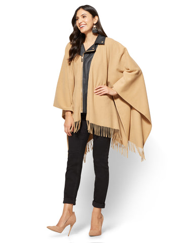 Moto Poncho  in Classic Camel
