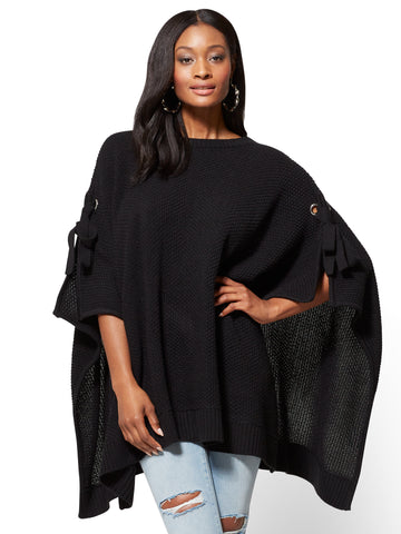 Lace-Up Poncho in Black