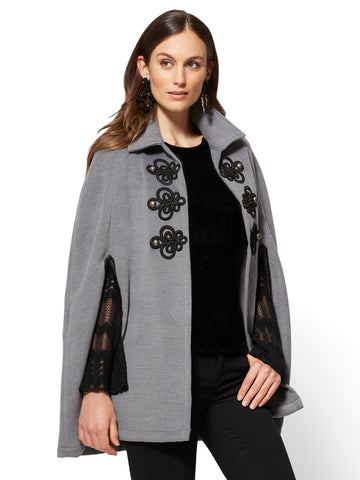 Military Poncho in Grey