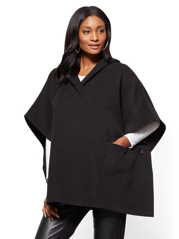 Hooded Poncho  in Black