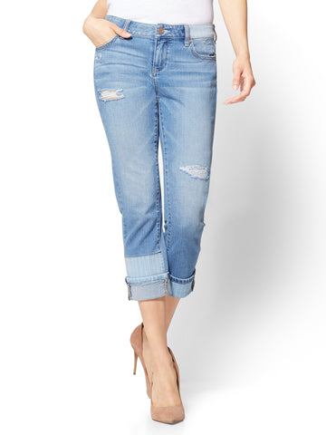 Soho Jeans - Cropped Repair Boyfriend in Soothing Blue Wash