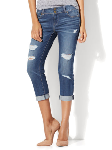 Soho Jeans - Destroyed Cropped Boyfriend in Blue Craze Wash