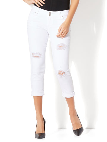 Soho Jeans - Destroyed Cropped Boyfriend in Optic White
