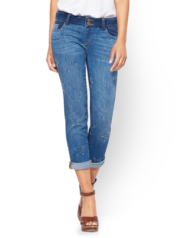 Soho Jeans - Cropped Boyfriend in Indigo Blue Wash