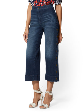 Snap-Closure High-Waist Wide Leg in Blue Society Wash