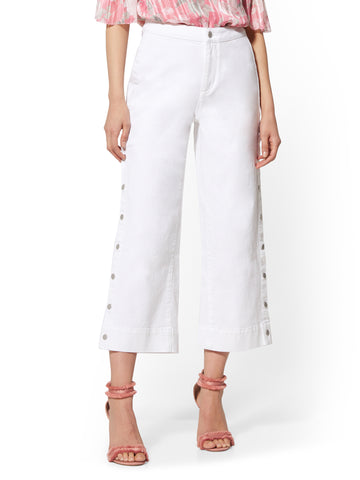 High-Waist Wide Leg Crop Jeans - Soho Jeans in Paper White