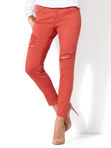 Soho Jeans - Destroyed Ankle Legging in Red Spice