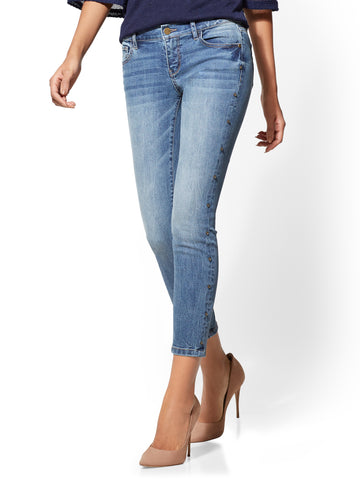 Soho Jeans - Jeweled Studded Ankle in Blue Print Wash