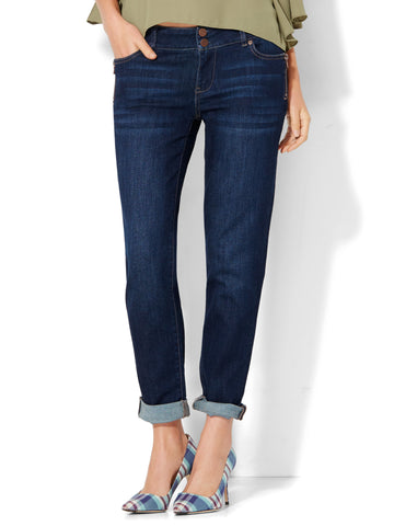 Soho Jeans - Zip-Accent Boyfriend in Highland Blue Wash