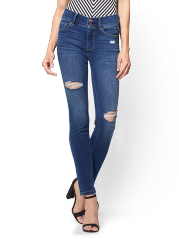 Soho Jeans - Destroyed High-Waist Legging in Force Blue Wash