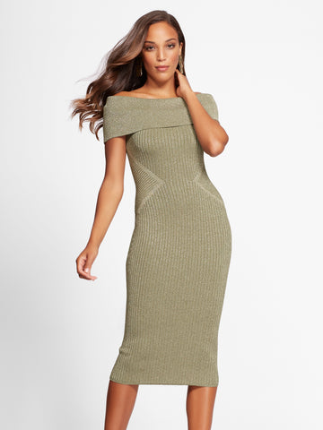 Gabrielle Union Collection - Sweater Dress in Olive Whispers