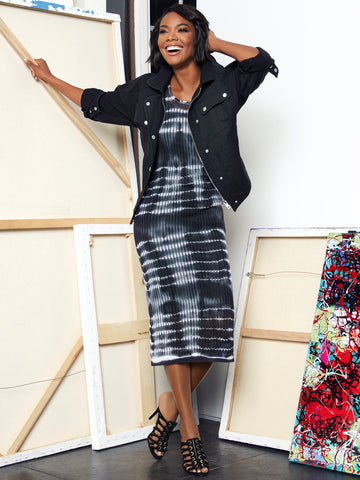 Gabrielle Union Collection - Tie-Dye Sweater Dress in Black