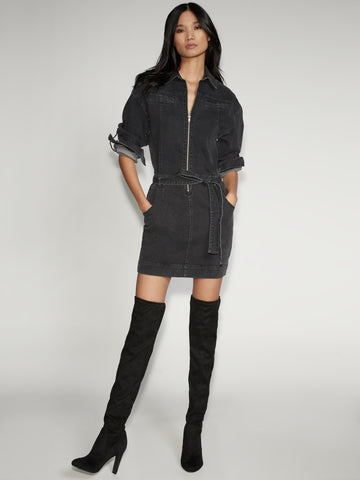 Shirtdress - Gabrielle Union Collection in Faded Black Wash