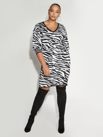 Zebra-Print Dress - Gabrielle Union Collection in Black