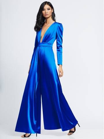 Satin Jumpsuit - Gabrielle Union Collection in Royal Blue