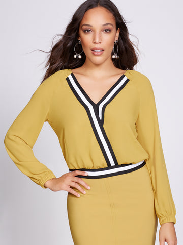 Gabrielle Union Collection - V-Neck Blouse in Golden Yellow
