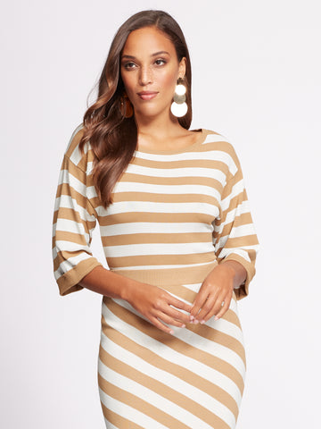 NEW YORK   COMPANY Gabrielle Union Collection - Stripe Sweater in Classic  Camel bf9050909