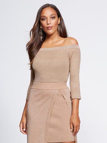 Gabrielle Union Collection - Metallic Sweater in Honey Puff