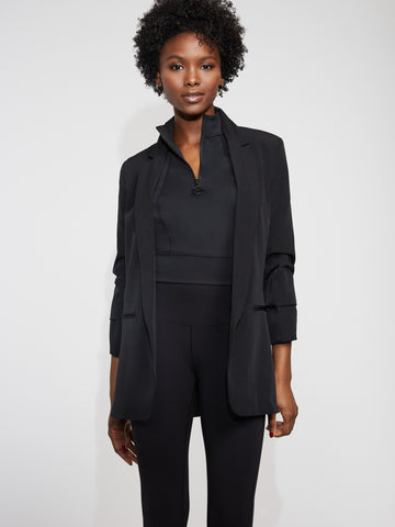 Pleated-Sleeve Blazer - Gabrielle Union Collection in Black