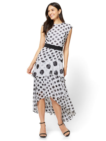 Tiered Maxi Dress - Polka Dot in Paper White