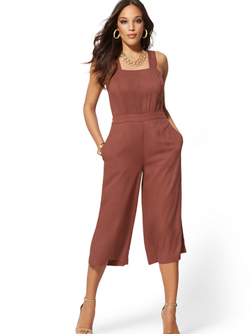 4ac03a90320d New York & Company Soho Jeans - Tie-Back Jumpsuit in Sienna Blush