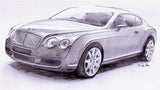 The Original Bentley Continental GT.  Study in pencil for the Continental GT sculpture.  A celebration of the beautifully styled car which elevated this iconic brand to new heights.