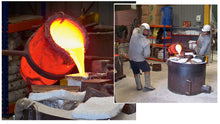 The ceramic shell is then prepared and molten bronze is poured into the space left behind by the 'lost wax'.