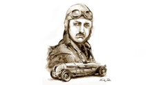 Sir Henry 'Tim' Birkin with his single seater Special.  Study in pencil for The Dream of Speed. On March 24th 1932, Tim Birkin raised the lap record at Brooklands to 137.96 mph.