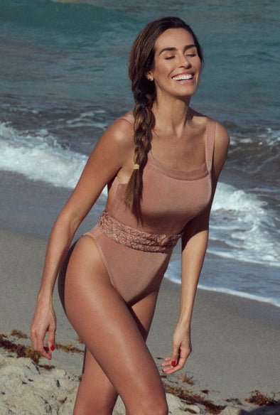 GREECE HIGH LEG BELTED ONE PIECE BRONZE