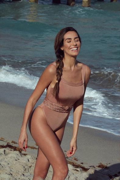 GREECE HIGH LEG BELTED ONE PIECE