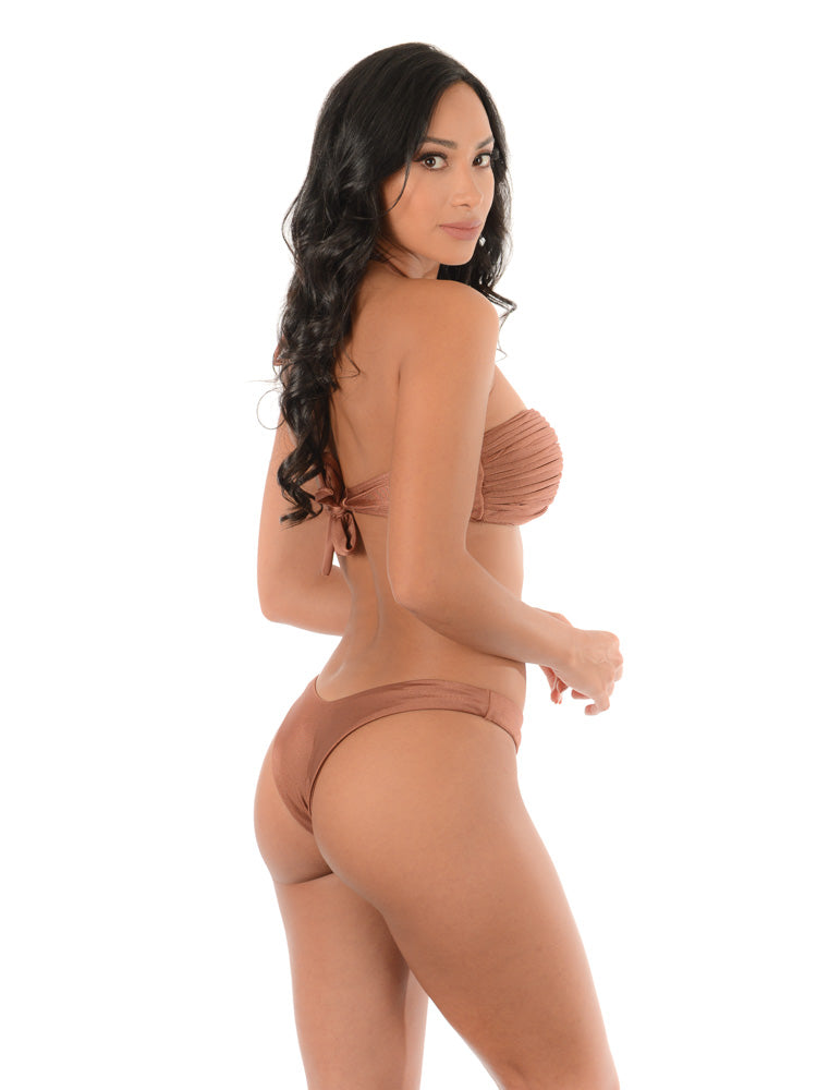 COPPER BROWN BANDEAU LUX| BIKINI SET