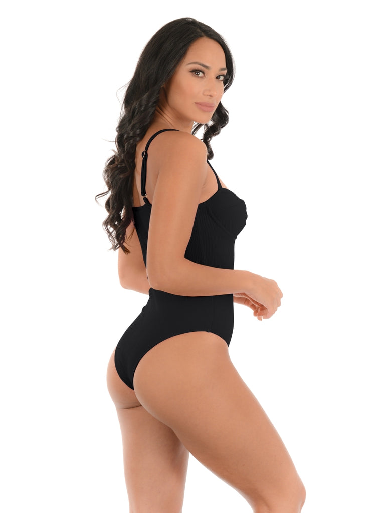 RETRO BLACK UNDERWIRED ONE-PIECE