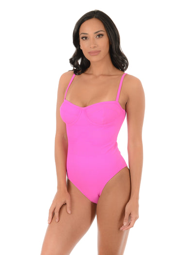 RETRO PINK UNDERWIRED ONE-PIECE