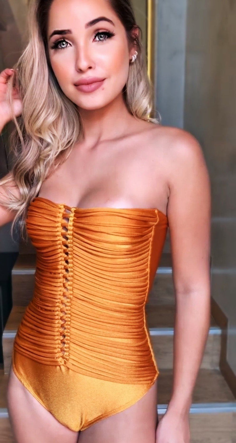 MARIGOLD STRAPLESS MACRAME ONE PIECE