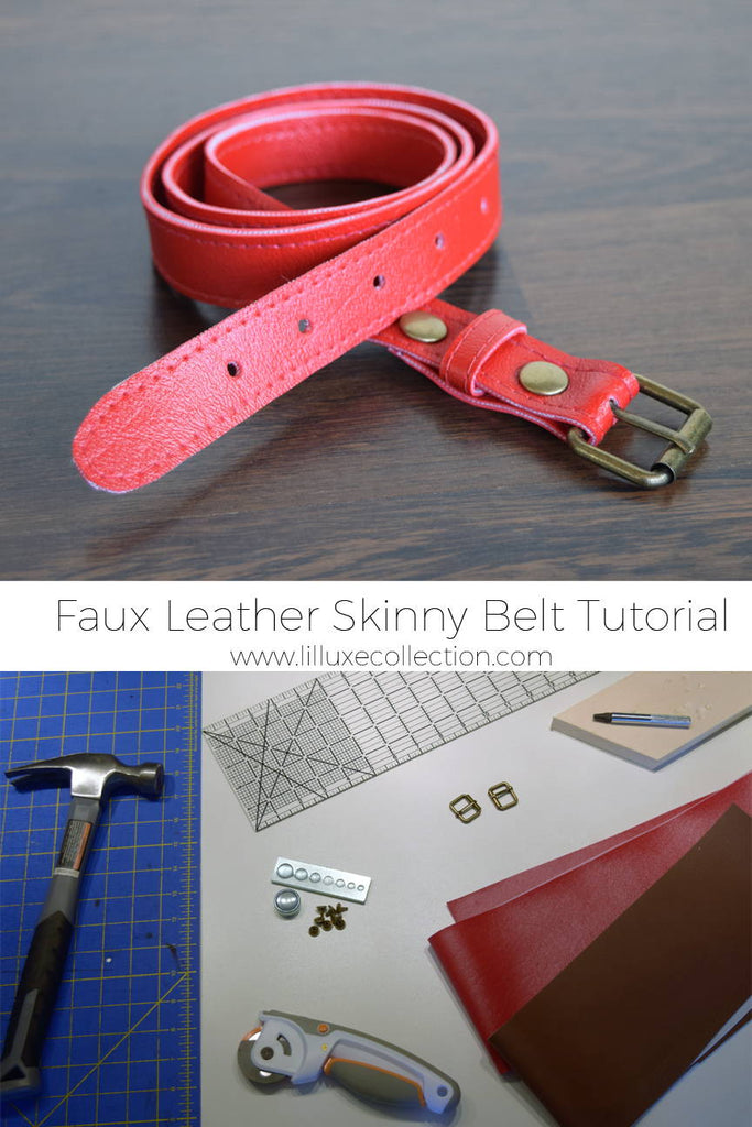 DIY Faux Leather Skinny Belt tutorial