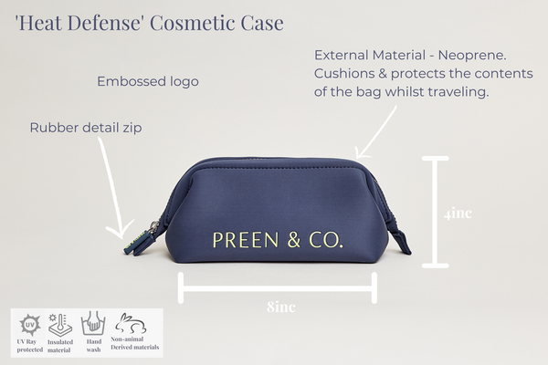 Blue heat protective cosmetic case