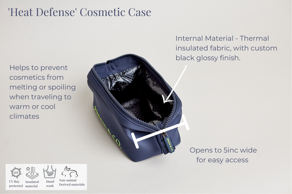 Blue heat protective Open view cosmetic case