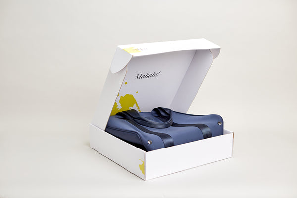 Active wear tote blue and Sulphur yellow  fully foldable to fit in a box, suitcase or hand luggage
