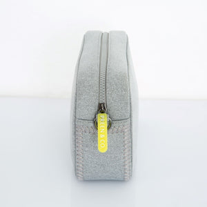 Gray crossbody bag neoprene  with neon zip