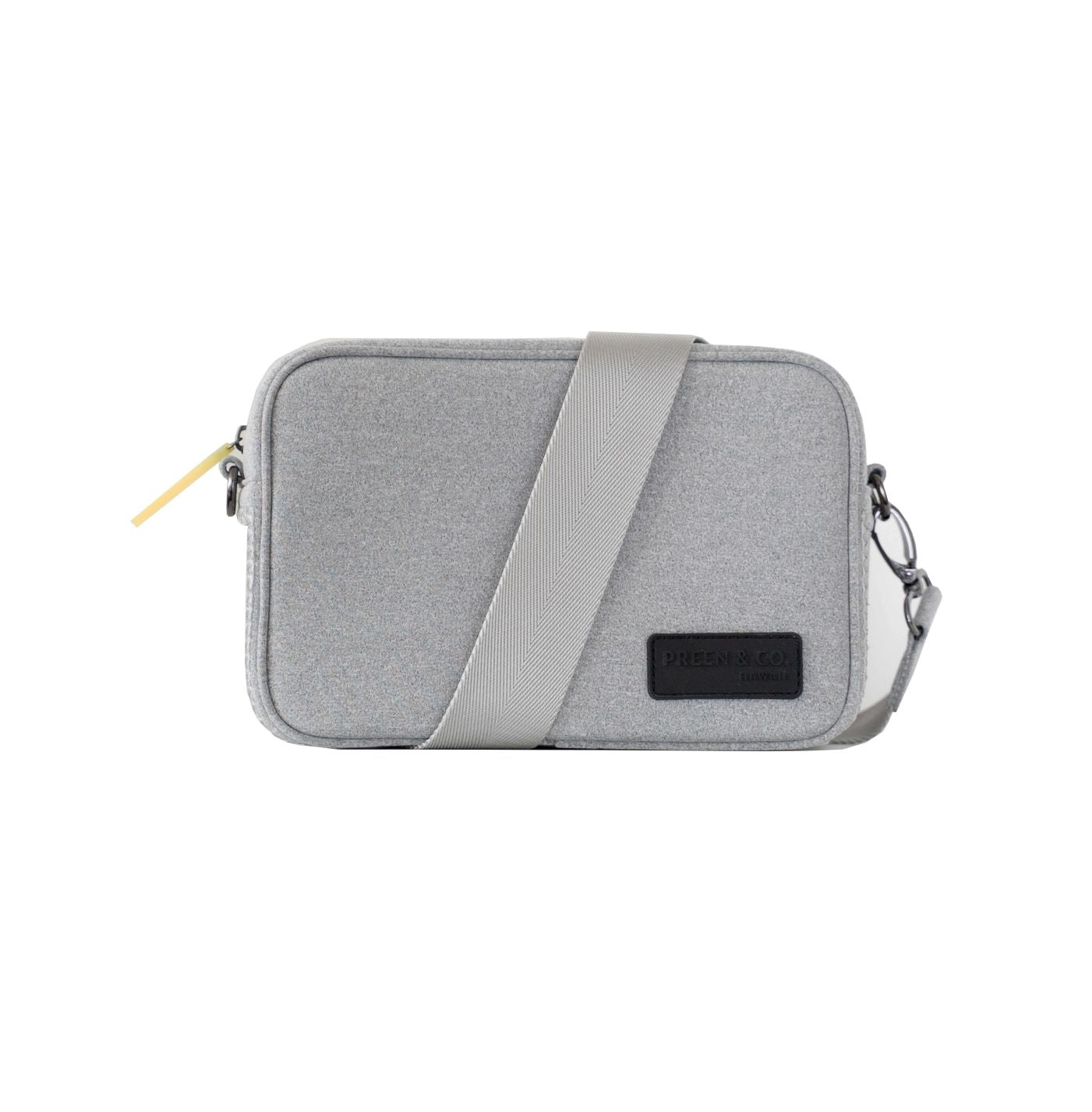 Gray crossbody activewear bag neon zip