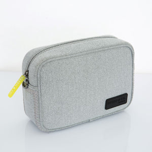 Gray crossbody activewear neoprene bag with neon zip