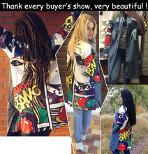 Big Size Denim Jacket Women Printed Cowboy