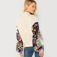 Jacket Casual Women Contrast Sequin Sleeve