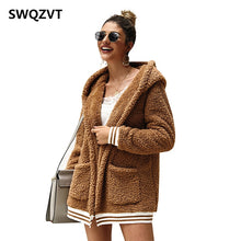 Peluche cardigan fleece jacket women autumn winter hooded basic ladies jackets
